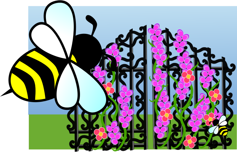 Bee scene by anarres - A metal gate overgrown with flowers, and bees. Double mash-up of bee http://openclipart.org/detail/183607/bee-by-anarres-183607 and gate http://openclipart.org/detail/170708/iron-gate-by-merlin2525-170708.