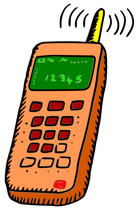 Analogue mobile phone by rgesthuizen - Hand drawn sketch of a old model, analogue mobile phone. Scanned and converted to SVG and colourised with some new layers.