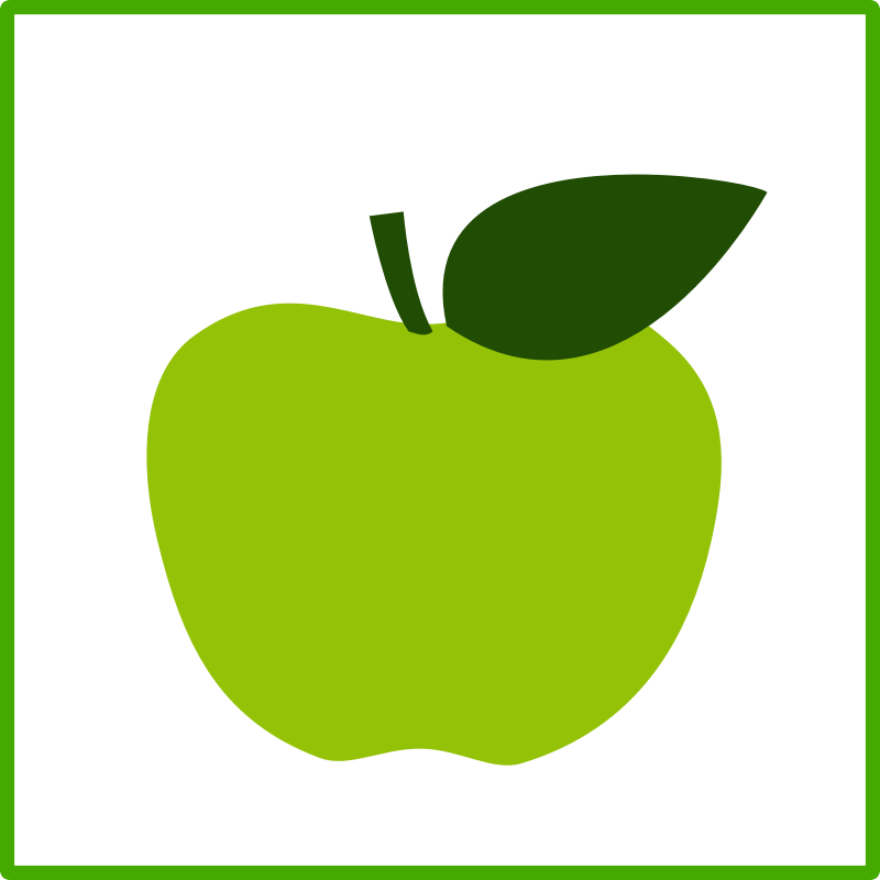Clipart - eco green apple, icon