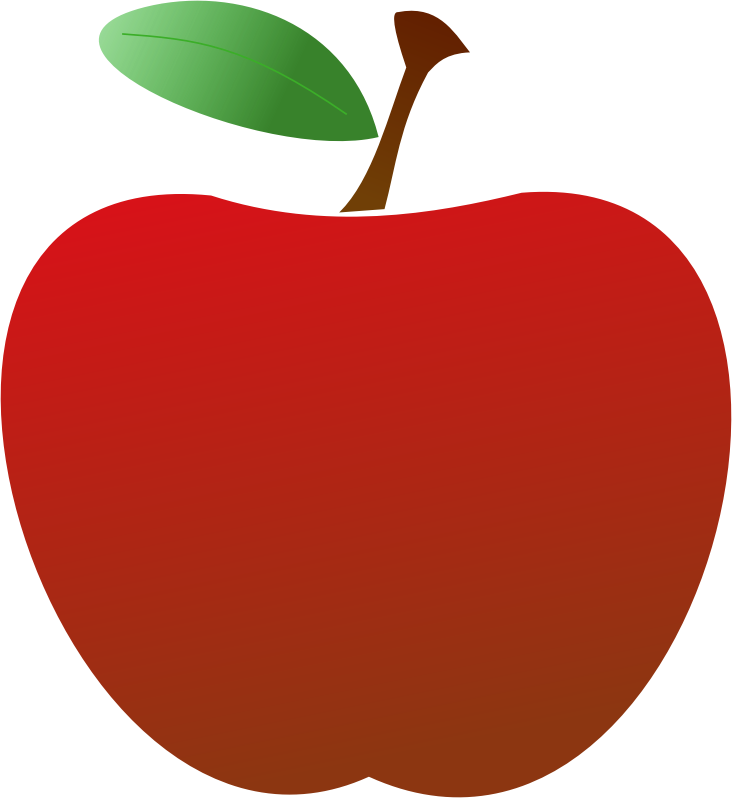 Simple Red Apple by sanja - A simple 2D red apple with a slightly transparent leaf.