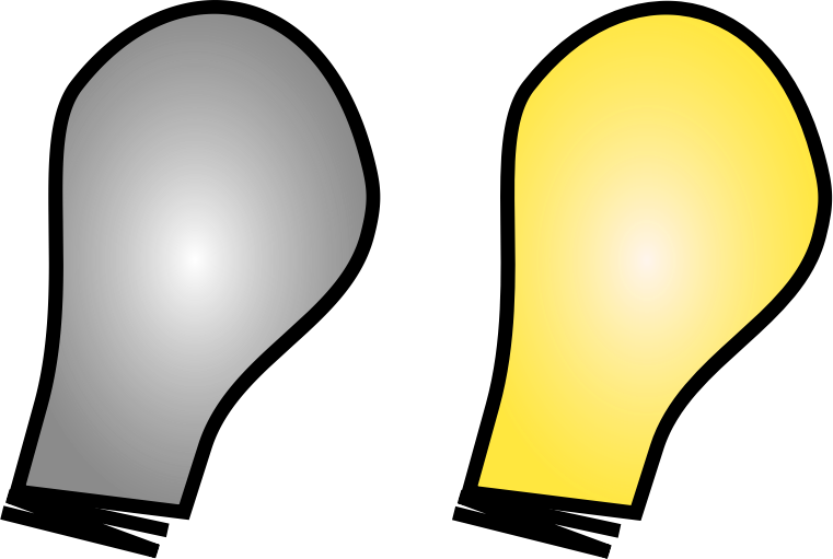 Simple Light Bulb on/off by sanja - Simple cartoon-like light bulbs, one with lights switched on and one off. Good for use in websites as favicons or for accompanying links (e.g. gray light for a:link, yellow when hovering), still recognizable even when very small.