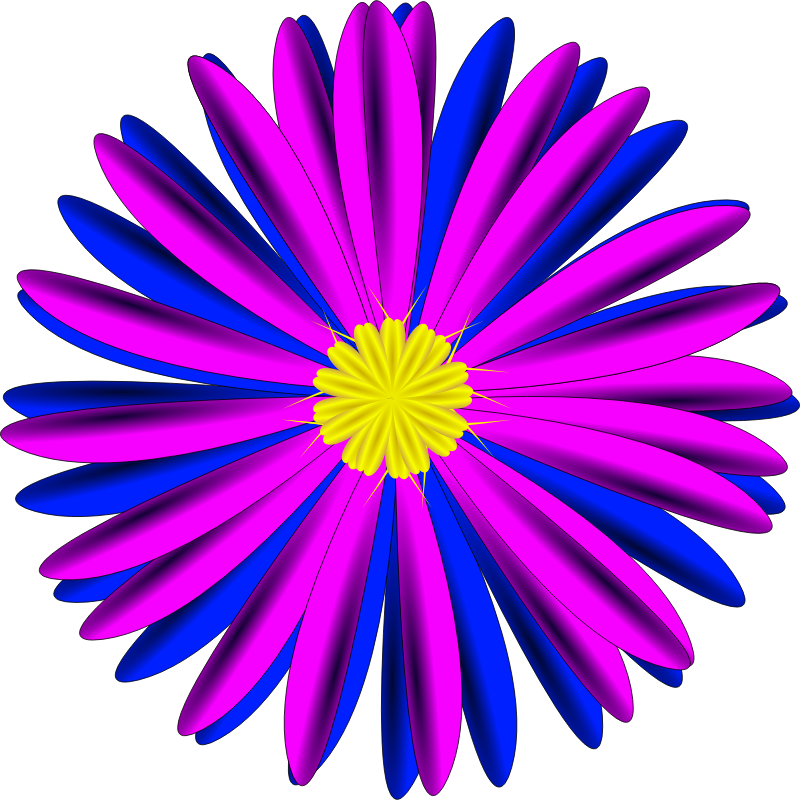Clipart - Pink and Blue Flower