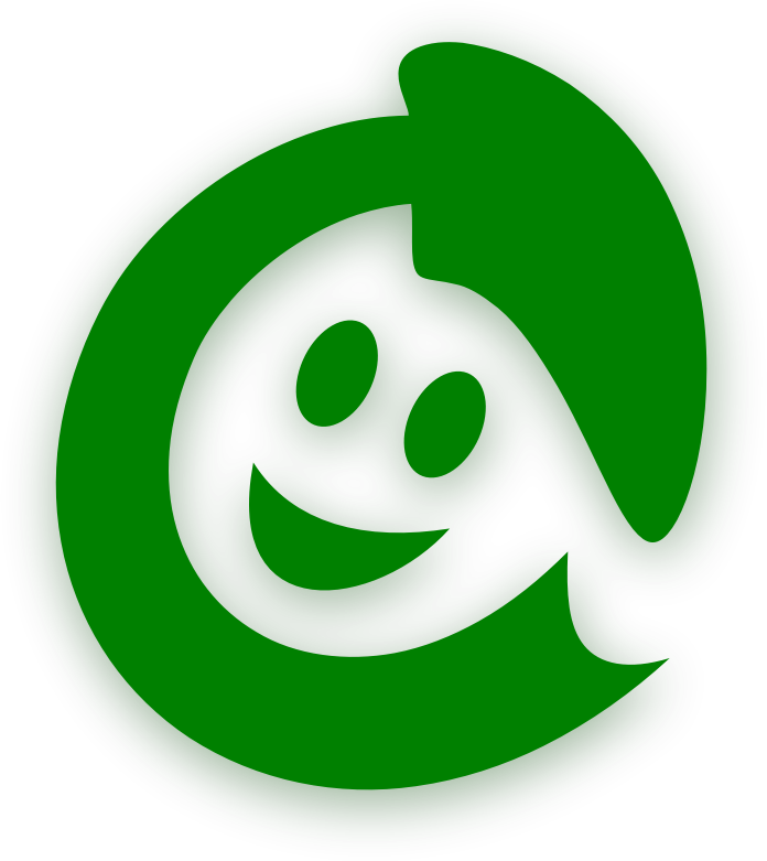 Happy recycling! by Moini - A recyling logo resembling a happy girl with her hair flying and a bonnet on her head.
