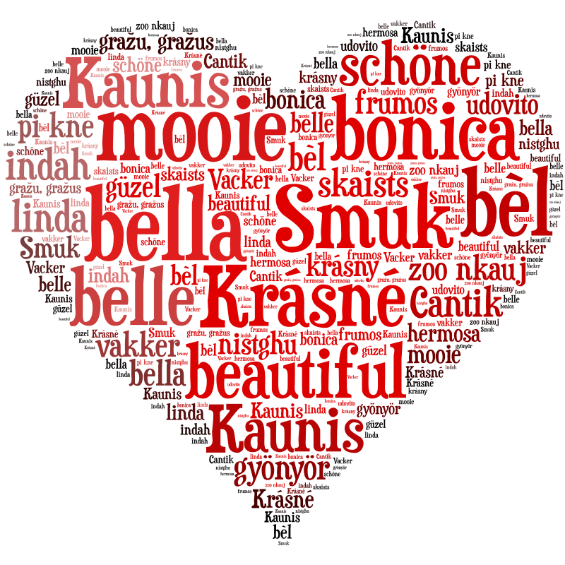 Beautiful in 50 languages by Tom Salmon - The word beautiful in a heart shaped SVG in 50 languages