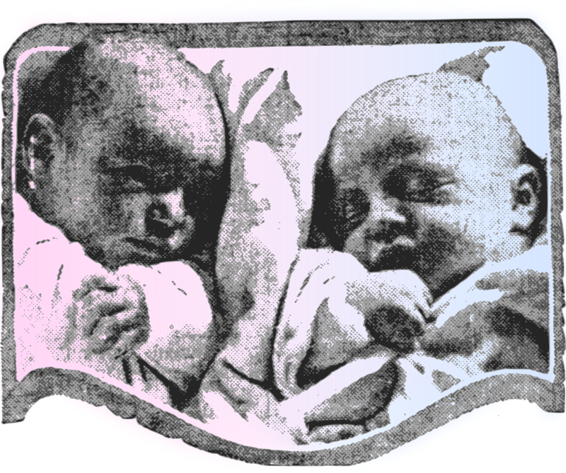 Cute Babies - Pink & Blue by j4p4n - I suppose the colour gradation between these two babies could symbolize gender roles in society (even more so that pink used to be for boys, and blue used to be for girls!) and symbolical of being born or something.