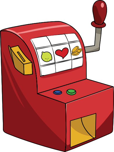 Little red slot machine  by casino - A very basic and old fashion slot machine.