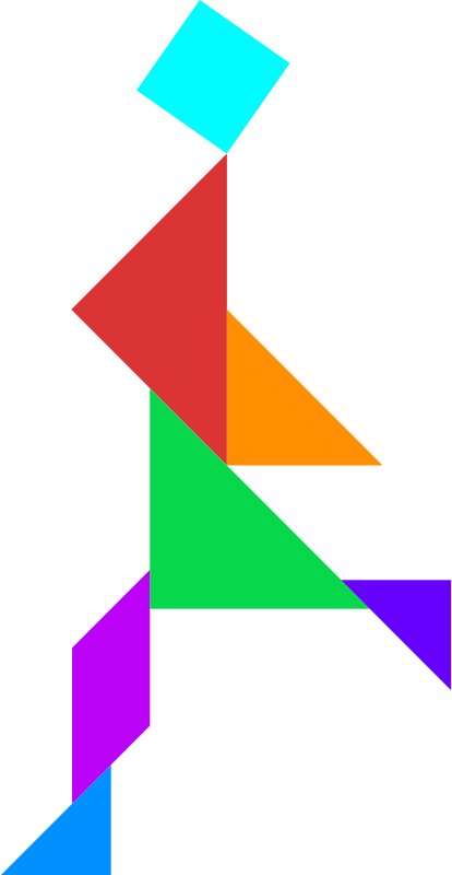 Tangram by dominiquechappard - A tangram; a Chinese puzzle in bright colors