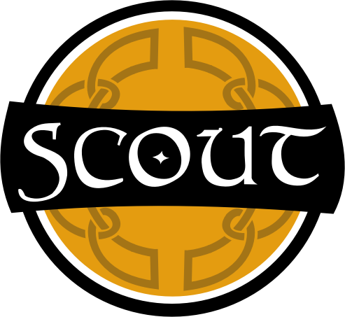 Scout celtic sign by kapn - There is a pub near our house called Stout. When we first saw it we were on our way to Scouts. My son thought it said Scout rather than Stout because of the font. This image is inspired by that error. Not sure what to do with it, but the base art may be useful to someone el