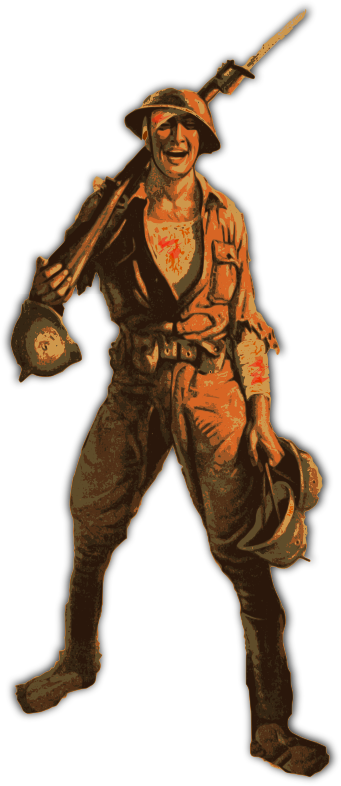 Orange World War One Solider by j4p4n - This WW1 solider seems happy, even though he is bathed in blood coming from his many injuries. He also seems to be carrying the helmets of his fallen comrades, but he's still happy. Nothing brings this guy down!