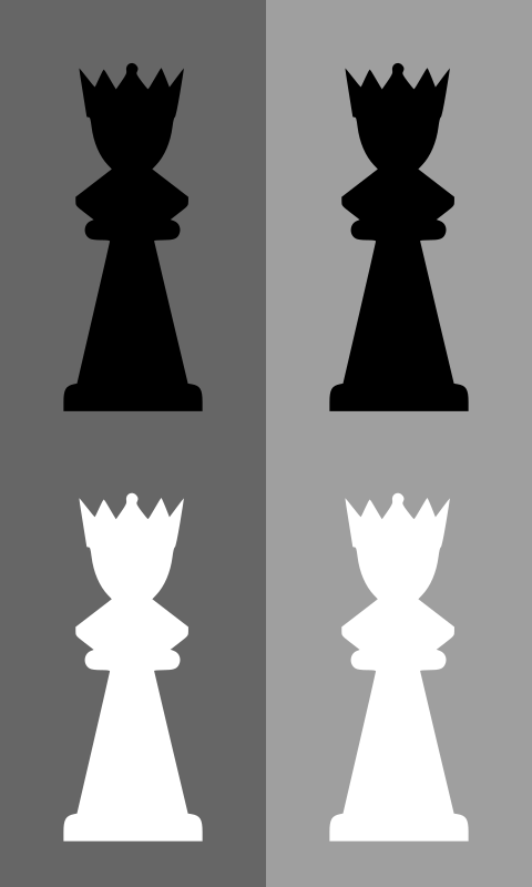 2D Chess set - Queen by portablejim - A 2D looking queen from a chess set. Please note that the white piece does not have a black outline and may not be visible in your browser
