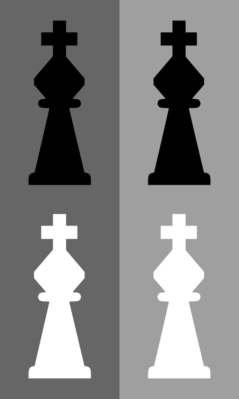 2D Chess set - King by portablejim - A 2D looking king from a chess set. Please note that the white piece does not have a black outline and may not be visible in your browser