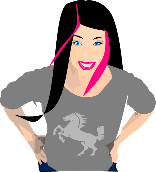 Punk girl with black and pink hair by liftarn - Punk girl with black and pink hair from http://www.clker.com/clipart-punk-girl-with-black-and-pink-hair.html