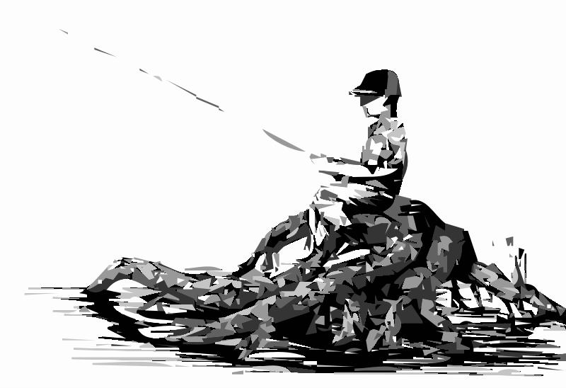 Boy fishing drawing