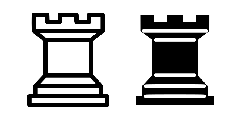 Chess tile - Rook by portablejim - A light and dark (black and white) rook for use in chess board templates. Source: http://commons.wikimedia.org/wiki/Image:Chess_tile_rl.png http://commons.wikimedia.org/wiki/Image:Chess_tile_rd.png