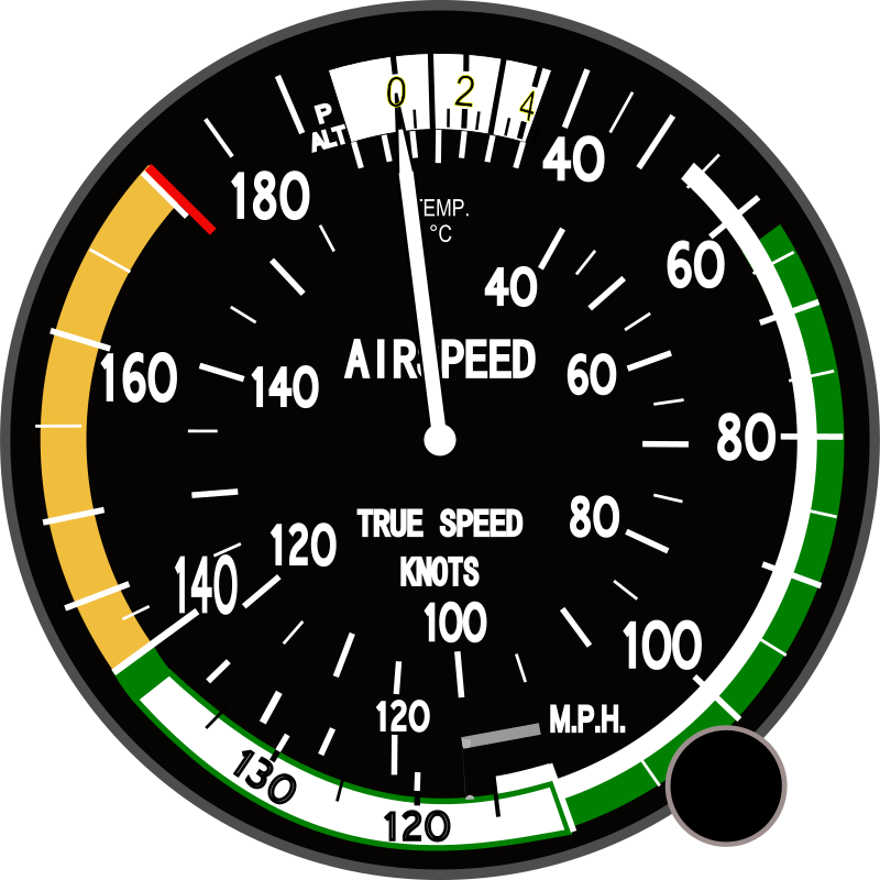 True Airspeed Indicator by Startright - This is a True Airspeed Indicator used on many Piper airplanes, especially Cherokees.
