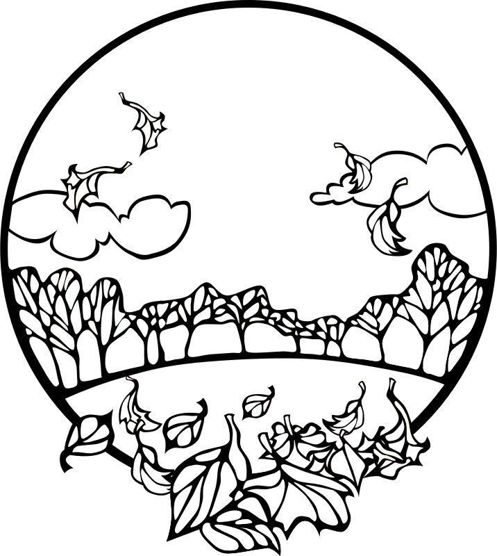 Fall Scene Coloring Page by pianoBrad