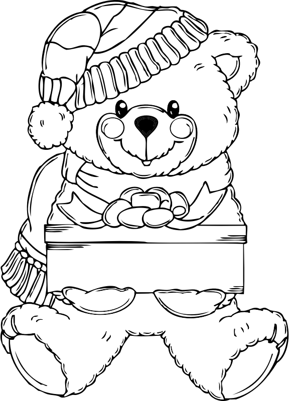 Christmas Bear Coloring Page by pianoBrad