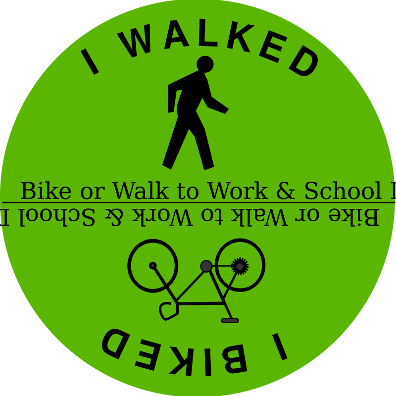Bike or Walk to Work & School Day by ephemeralwaves - Bike by schoolfreeware and walking person icon by mazeo on openclipart