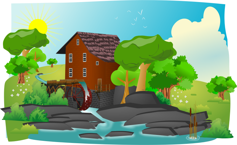 Watermill in lanscape by cyberscooty - Water mill in landscape. Thanks to gurica and rg1024, openclipart's uploaders, for trees.