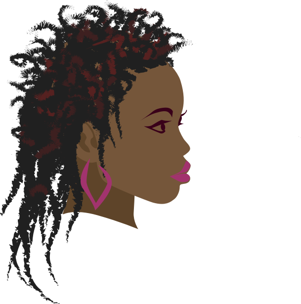 African Girl 3 by hebron - A side view of an African girl with long twist braids hairstyle.