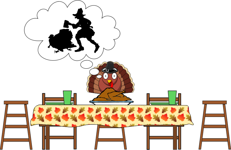 Turkey, Scared Turkey...Happy Thanksgiving by simpletutorials.net - A turkey with a hat gets frightened after seeing the cooked turkey on the table before him. He then imagines what took place for the cooked turkey to eventually be on the table.