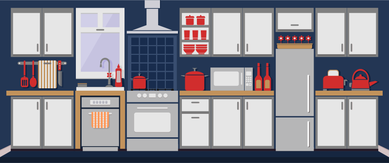 Simple Kitchen Remixed with Flat Colors and Shadows by barrettward - Simple Kitchen Remixed with small changes, depth, and flatter colors.