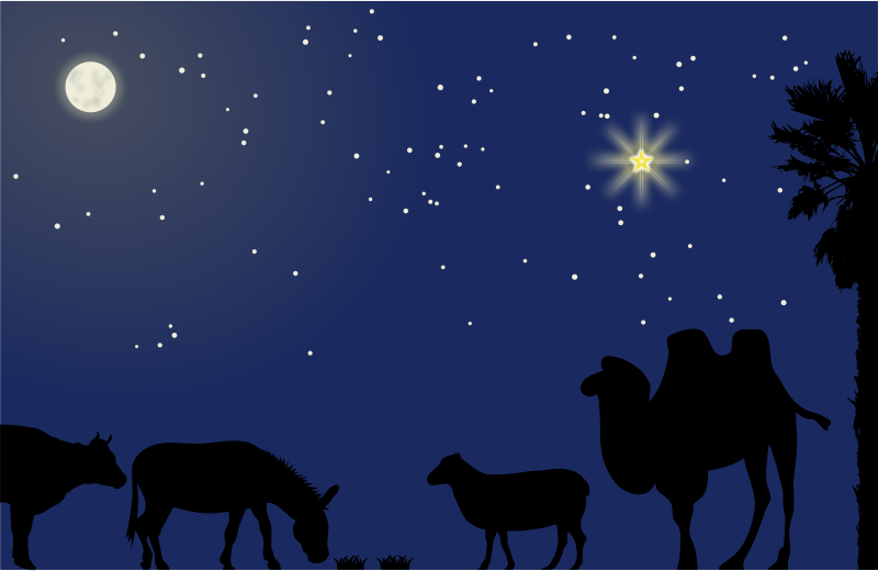 Nativity scene background - no mask by Moini - A background for a nativity scene, featuring stars, moon, star of bethlehem, a cow, a sheep, a camel, a palm tree and a donkey.