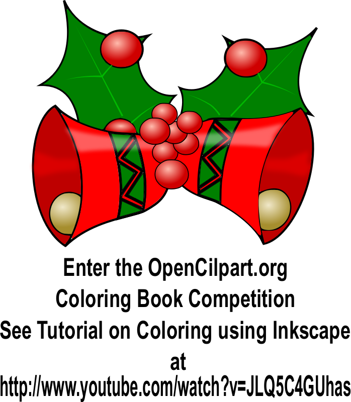 Christmas Bells - Coloring Book Page by simpletutorials.net - These Christmas bells and Holly were colored to be entered into the coloring book competition and to show others how easily these coloring book pages can be colored through the use of Inkscape found at inkscape.org. Please follow along this tutorial and color a coloring page on your own by watching the tutorial at  http://www.youtube.com/watch?v=JLQ5C4GU has Also see other tutorials at my website http://www.simpletutorials.net