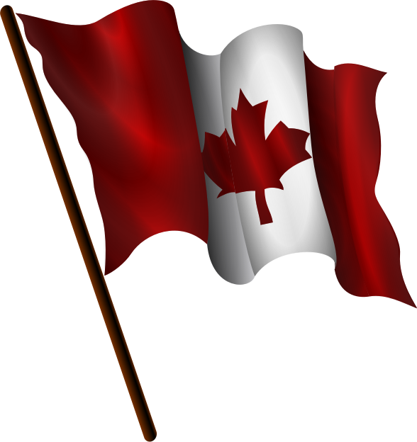 Canadian Flag 9 by Merlin2525 - A waving Canadian Flag. It's shape was inspired by Open Clip Art Artist Margirly whose original work can be found at https://openclipart.org/detail/182318/dodgerblue-flag-waving-by-Magirly-182318. Created with Inkscape. Licence: Public Domain