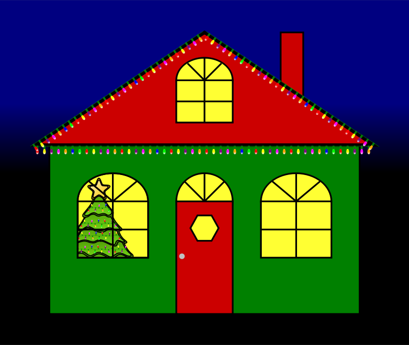 House with Christmas Lights by JayNick - House with Animated Christmas Lights on the outside and Christmas tree in the window. SVG code can be inserted into an SVG image then scaled and positioned where desired. Animated lights work in browsers that support animation