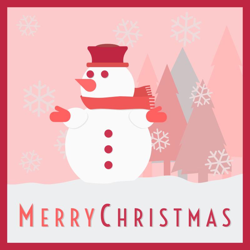 Snowman Merry Christmas Card by barrettward - A red-scaled christmas card