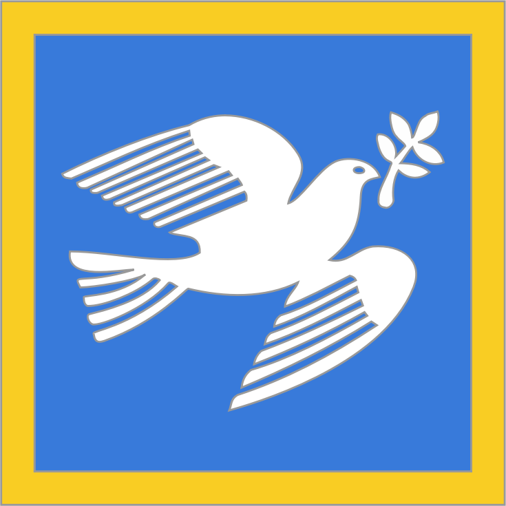 peace by crisg - white dove on blue background and yellow border, with an olive branch in its beak