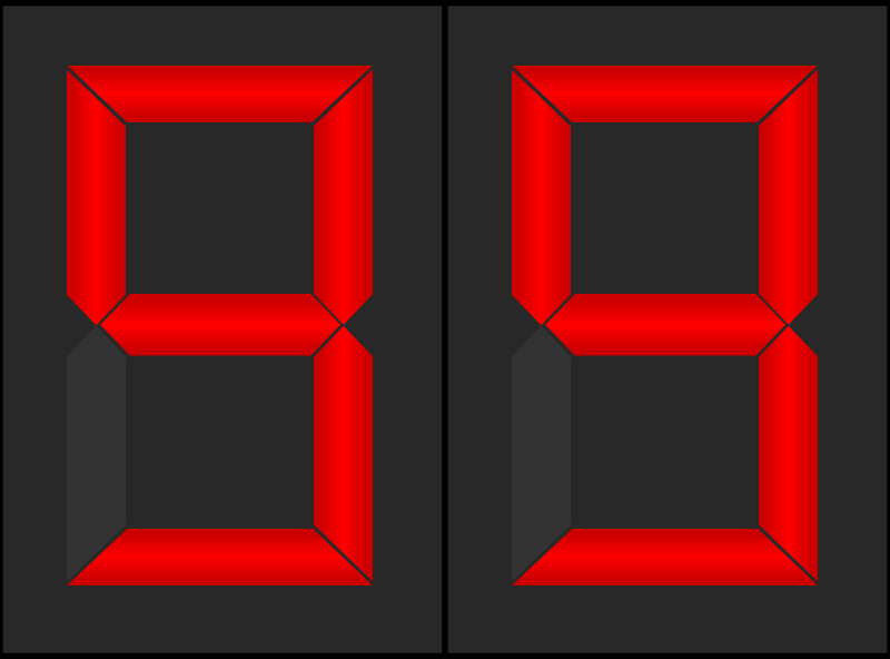 Animated Digital Display by JayNick - Inspired by alex8664's Seven segment displays. Counts down from 99 to 00. SVG code can easily be modified to add/remove a digit. SVG code can be inserted into an SVG image then scaled and positioned where desired. svg animated lights work in browsers that support animation