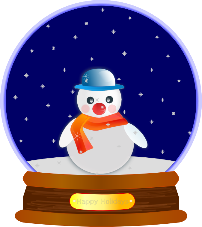 Animated Snow Globe by JayNick - Animated snow in a holiday snow globe containing openclipart's Snowman glossy and base from snow globe. SVG code can be inserted into an SVG image then scaled and positioned where desired. svg animated snow works in browsers that support animation
