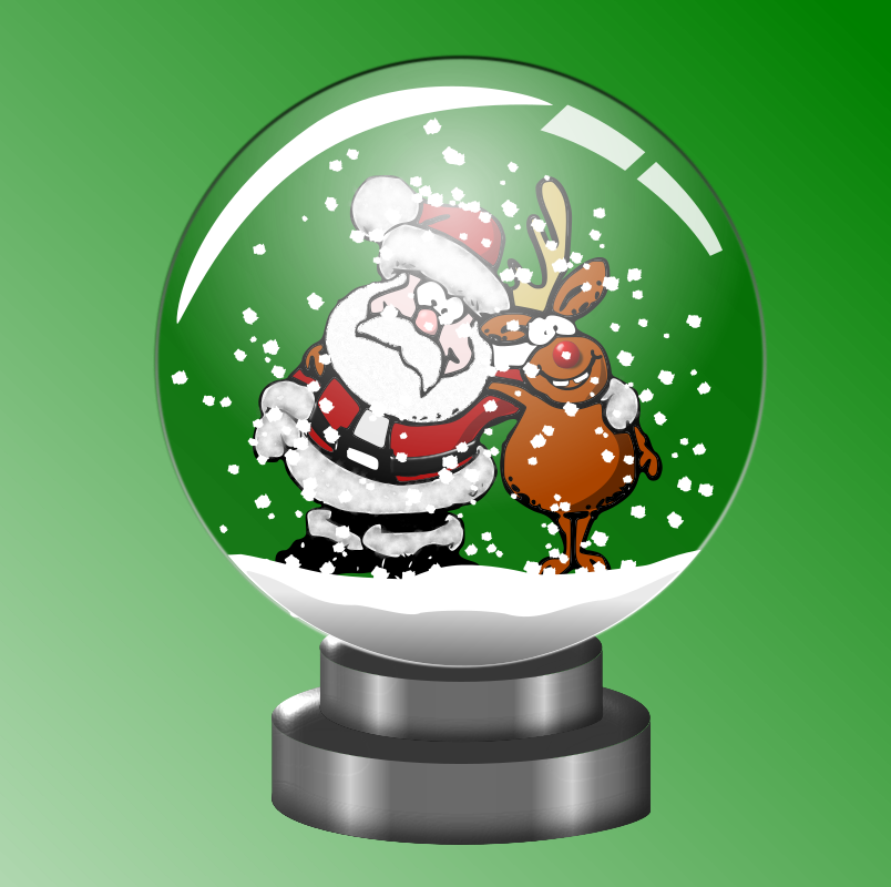 Santa and Rudolph forever in a Snow Globe by doodler