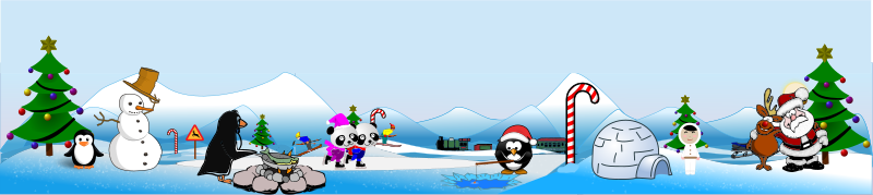 Artic North Pole Scene and Action View by doodler - This a scene full of action in the cartoon artic.It includes the coloring of drawings (tree, santa, reindeer, panda skaters) from one of the coloring books included in the coloring book competition.  Some figures were also added ...taken from Open Clipart's graphic base.  There it is a combination of coloring, placement, alteration and remix.