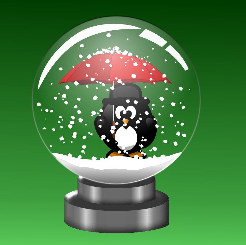 Snow Globe -Penguin with Umbrella by doodler