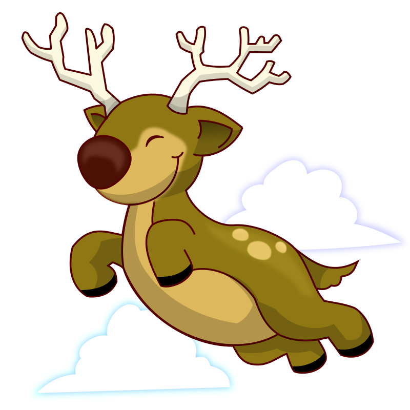 Flying Reindeer by isacvale - A flying reindeer - like those that pull Santa's sleigh on Christmas Eve. This is actually a character from Ocastudios' card game Attack the Tower, realeased under public domain and available at www.ocastudios.com.