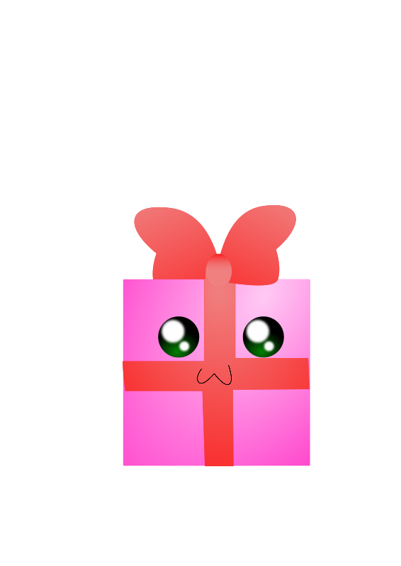 Gift box 3 by rdragon - Pink gift box, with red bow and green eyes