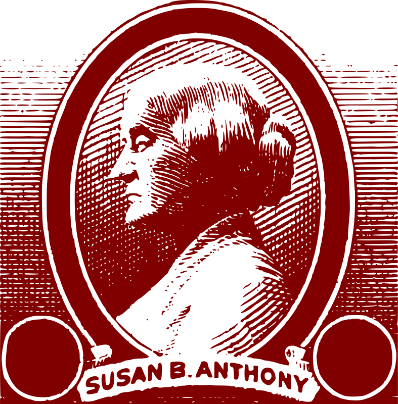Susan B Anthony by j4p4n - This was based on an old 1930s stamp. It was a public domain stamp, and the original was red too. I thought that removing the stamp cost would make this a more universal clipart image, but I left the name title. Women's Rights, Wooo!