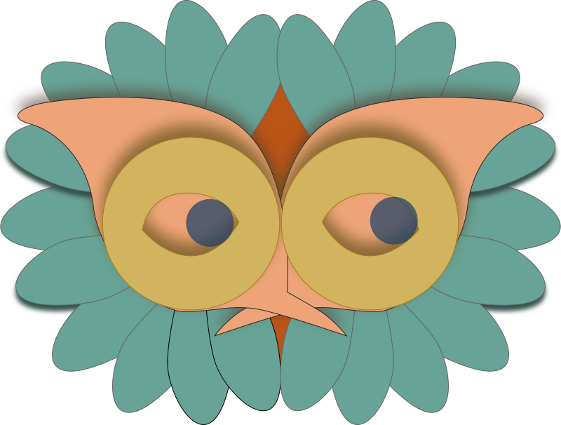 Mask by Ulrike - A mask looking like a turquoise owl.