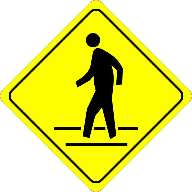Caution - Pedestrian Crossing by algotruneman - Pedestrian in Crosswalk - Caution Road Sign