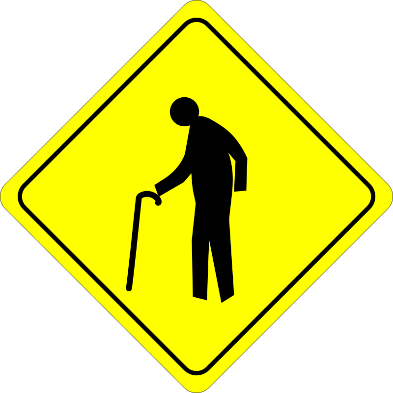 Caution - Old Dude Crossing by algotruneman - Old person crossing caution sign