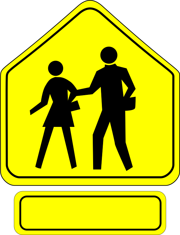 Clipart - School Crossing Caution