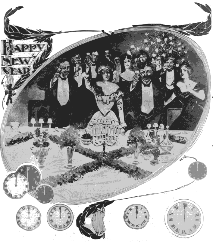 Happy New Years - A Toast by j4p4n - A group of party guests raise their glasses in a toast to us! I wonder what they are toasting? To the left is a new years title, and below our clocks striking midnight.