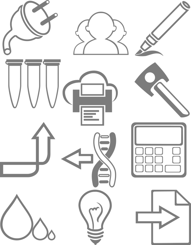 Icons in Android Holo style by gmad - A grey science-focused icon set consisting of: an electric plug, a group of people, a pen, reaction tubes, cloud printing, a key, an arrow pointing upward, a strand of DNA, a calculator, different sized water drops, a light bulb and a sheet of paper.