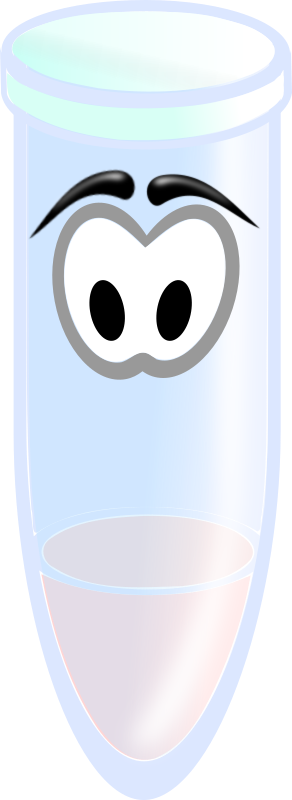 Reaction tube by gmad - A small reaction tube with some frowning eyes filled with a pink liquid.