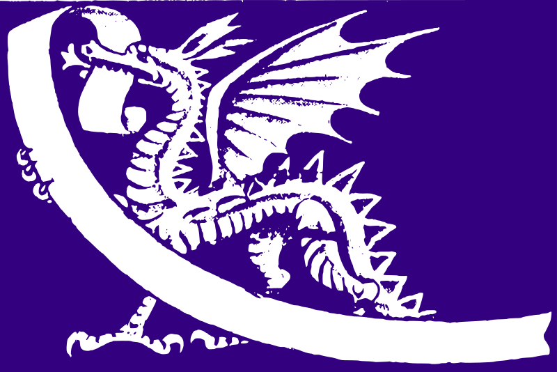Purple Dragon by j4p4n - The Welsh Dragon depicted in purple! This started life as a 1958 public domain British stamp for the Commonwealth Games, featuring the queen of England. That is boring and not so versatile. Gone is the stuffy queen. Gone is the useless title. Now we have the best bit, the noble dragon! (Your choice to add text to the banner or just leave it blank...)