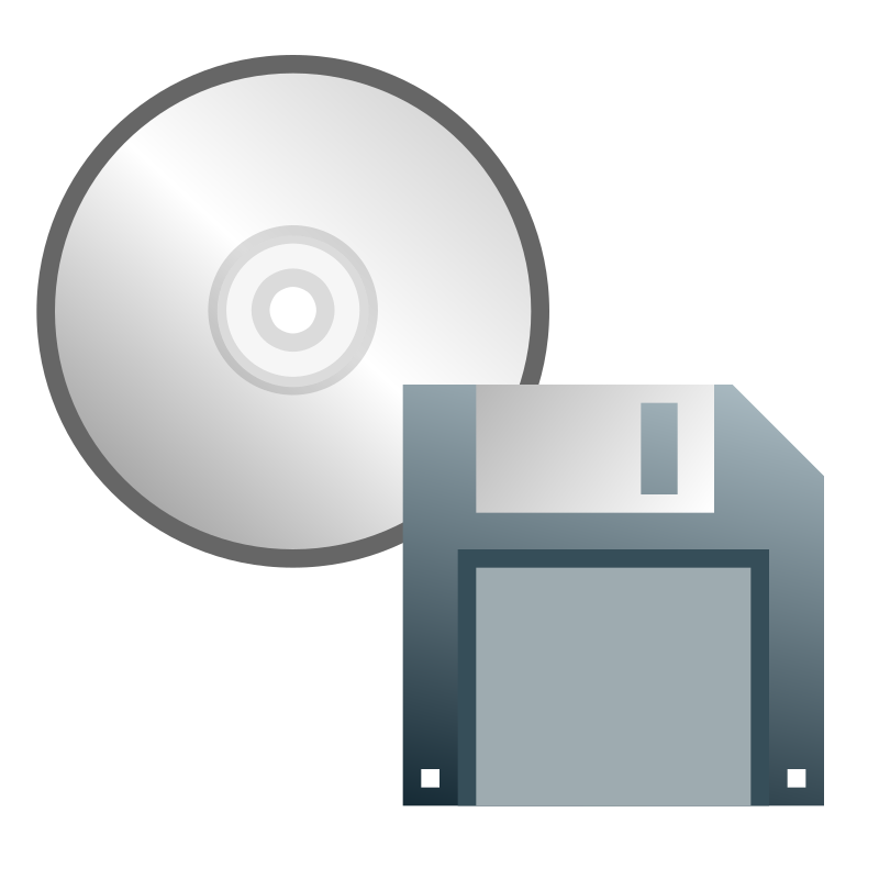 "CD or floppy disk icon by jhnri4 - A CD icon with a 3.5"" floppy disk icon."
