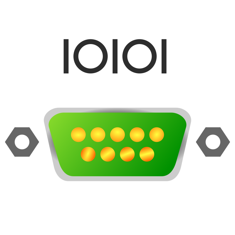"Serial port icon by jhnri4 - A serial port with the symbol ""IOIOI"" above it."